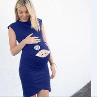 Yeni Annelik Kolsuz Elbise Gebelik Annelik Elbise Karikatür Mektup Baskı Nükning Gebelik Gömlek Mama Giysileri1