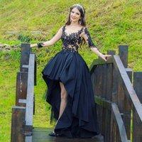 2021 Nuevo Vestidos de novia negros góticos de alto nivel con mangas largas Sexy Sheer Lace Top Frontal Frente Largo Atrás Vestido de color negro