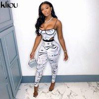 Kliou Zebra Kravat Kuru Iki Parçalı Set Kadın Sonbahar Moda Sutyen Bodysuit + Yüksek Bel Elastik Tayt Co-Ord Setleri Kadın Kıyafetler Sıcak