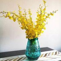 뜨거운 10pcs / lot 90cm 노란색 / 흰색 나비 난초 인공 꽃 홈 아트 장식 결혼식 이벤트 파티 T200509