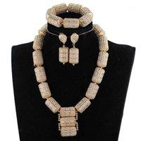 Set di gioielli da sposa Dubai Gold For Dubai per le donne 2021 regalo da sposa nigeriana perline africane Set Set collana pendente grossa WE2001