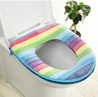 Cubierta de asiento de inodoro Cubierta de asiento suave Espesano Rainbow Coral Velvet Terce inodoro Tapa anillo de asiento Cojines Cojines Baño Aseo Decoración GWD5434