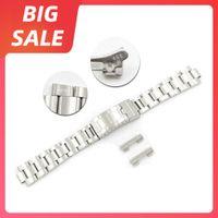 20 мм 316L Стальные часы Band Band Hollow Curved Close Lock Lock Clasp Silver Bracele Bracte для Rolx Vintage Submarin Oyster