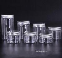 30 40 50 60 80 ml frascos de plástico con tapa Cajas de almacenamiento de plástico transparentes de PET latas botellas redondas con plástico / tapas de aluminio