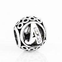 Carta Livraison GRATUITE MOQ 26 PCS ARGENT ALPHABET A-Z CIDE DE PERLE D'ORIGINE PANDORA Lettre Bracelet Charme W V U Z C T BERLOQUE