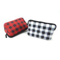 Neopren Kozmetik Çantası Fermuar Makyaj Çanta Çantalar Çiçek Beyzbol Ekose Çanta Kılıf Seyahat Tuvalet Taşınabilir Saklama Çantası Sikke Çanta F121001