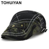 Bere Tohuiyan Camo Patchwork Sboy Caps Erkekler Duckbill Visor Bere Şapka Vintage Pamuk Boina Chapeau Baker Sürüş Şapka Erkek Daire