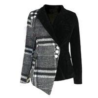 LANMREM NEW Automne et hiver Collier de retournement d'automne Patchwores en laine Patchwork Velvet High Taille Jacket WL07601XL 201112