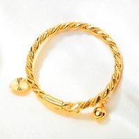 10G Peso New Fashion Placcato oro Braccialetto Cuore Bell Charms Bangle Polsino Bambino Bambino Bambini Bling Bling Regali di compleanno