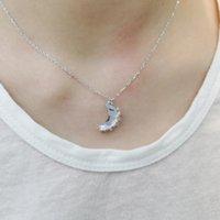 Catene Moonlight Zircone collana donna 100% 925 sterling argento nacklace gioielli clavicola catena charms ciondolo per le donne regalo
