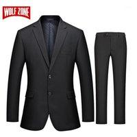 Мужские костюмы Blazers Wolf Zone костюм мужские деловые повседневные Slim Fit с брюками 2 шт свадьба Blazer Mens формальная пиджака Party1