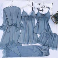 5pcs 가운 잠옷 세트 실키 새틴 Womens 레이스 나이트웨어 섹시 스트랩 잠옷 정장 여성 라운지 잠옷 가슴 패드 Homewear1