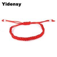 Charme Pulseiras Yidensy Moda Lucky Red Rope Ajustável Longa Curtada Currada Nó Bracelete para Mulheres Homens Casal Amizade Jóias