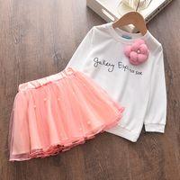Menoea 2-6year criança menina inverno roupas ternos crianças boneca colarinho camisola camisa saia roupa roupa para crianças 210304