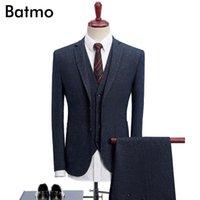 Batmo 2020 new arrival High quality thick navy blue causal men's suis,wedding dress suit men,men's business suits,plus-size 1022