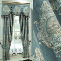 Stili di finestra di lusso per soggiorno Drappe eleganti tende ricamate europee LJ201224