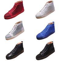 Luxurys desgintadores Sapatos Corte de Camurça Flash de Couro Vermelho Bottom Plataforma Designers Spike Sneakers Reds Bottoms Bottoms Homens e Mulheres Festa Sapato de Casamento
