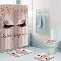 Girly Rose Gold Eyelash Maquiagem Chuveiro Curtain Curtain Set Spark Rosa Gotejamento Banheiro Cortina Olho Lash Beleza Salão Home Decor LJ201128