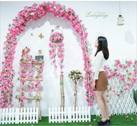 Luyue 11pcs lot Artificial Cherry Flower Vines Wedding Hanging Fake Silk blossoms Simulation Rose Rattan Colorful