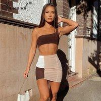 Simbered acanalado Patchwork Dos piezas Sets Un hombro Top y Faldas Mujer Skinny Vintage Streetwear CO-Ord Outfits Club Z0121