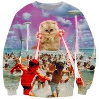 Cloudstyle Funny Animal 3D Sweatshirts Men Longsleeve Laser Cat Pizza Cat Print Fashion Pullover Harajuku Streetwear Tops 201021