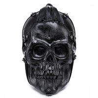 Jierotyx персонализированные уличные классные рок-мужчины рюкзак гримаса шаблон череп узор на белом фоне Смешные сумки на плечо упаковки 1 xxkhp