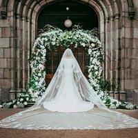 Новая мода 5 м собора длина свадебные завесы с аппликациями кромки длинной слоновой кости Свадьба вуаль Vestido de noiva платье аксессуары