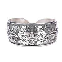 2020 Nuovo Tibetano Tibet Beautiful Peony Bracelet Bracciale Polsino Monili Mano Silver Flower Bangle per le donne