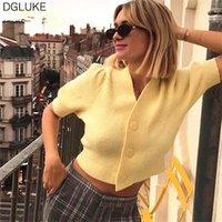 Dgluke Neue Mode Gelb Getreide Cardigan Pullover Frauen V-Ausschnitt Kurzarm Button Up Strickjacke Crop Top Sexy Beiläufige Strickwaren