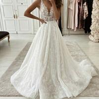 2021 New Beach Brautkleider Spitze Brautkleider Backless Sheer Riemen Plus Größe Hochzeitskleid Bodenlangen Roben De Soirée Mariée