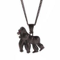 Animal helado Collar colgante de gorila con cadena Moda 3 colores AAA Zircon Mens Necklace Moda Hip Hop Joyería Y1220