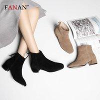 Fanan tobillo botas mujeres de primera calidad vaca gamuza zip otoño moda damas zapatos de cuero genuino hecho a mano MED tacón zapatos mujer1