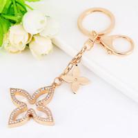 Keychain clover creativo portachiavi oro metallo catena chiave moda portachiavi a portata di fascino borsa a sospensione automatica regalo all'ingrosso