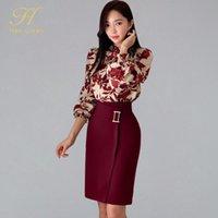 H Han Rainha Mulheres Primavera Sexy Imprimir Moda Casual Ol Trabalho Desgaste 2 Peças Definir Bainha Lápis Bodycon Terno Skirt 201102