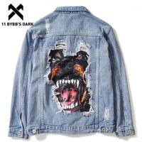 11 Bybb's Dark Men Jeans Jeans Jeans Jeans 2020 Осенняя собака Patch Design Design Brada Hole Джинсовая куртка Streetwear Hip Hop Coats Casual Wearwear1