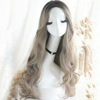 Pelucas femeninas larga rizada pelo grandes olas pera flores temperamento natural químico fibra color aoki lino gris 65 cm
