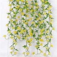 Couronnes de fleurs décoratives Accueil Décoration Hydrangea Fleur Rotin avec feuilles Sérigraphie Mur de plafond artificiel suspendu Vigne