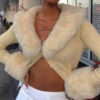 Artsu Ribled вязаные кардиганы свитера с меховой отделкой воротник с длинным рукавом стройные осенние зимние прыжки женщин трикотаж 42015