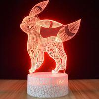 Küçük Gece Işık 3D Küçük Gece Işık Yaratıcı Renkli Gece Lambası 3D Stereo Aydınlık Lamba Standı LED Dokunmatik Uzaktan Kumanda