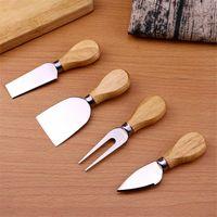 الجبن الإبداعي سكين 4 قطع مجموعة الفولاذ المقاوم للصدأ سكين المطبخ الجبن زبدة البيتزا مقبض خشبي أربع قطعة دعوى الجبن سكاكين FF455