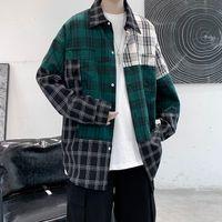 2021 New Privathinker Patchwork Patchwork Men's Extranjero Blusa Harajuku Hombres Casual Camisa de manga larga Tops Streetwear Ropa Hip Hop 1i8x