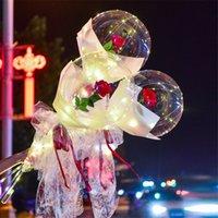 الصمام بالون مضيئة روز باقة شفافة بوبو الكرة روز عيد الحب هدية عيد ميلاد حفل زفاف الديكور بالونات CCE2937