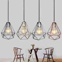 펜던트 램프 1m 교수형 골동품 철 다이아몬드 산업 스타일 85-265V E27 케이지 식당 식당 식당 커피 바 DHL
