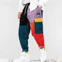 AEFIRIC EDEN CORDUROY PACTWORK CARGO BARGE BURE MEN Уличная одежда Гарем Брюки Joggers Harajuku Ffulspants Hip Hop Streetwear Truseers 201110