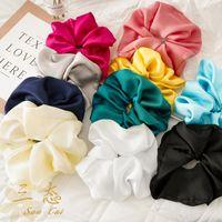 Satin Bright Color Hair Scrunchies Women Silk Scrunchie Elastic Hair Bands baby Girls Headwear Donut Grip Loop Ponytail Holder Z1982