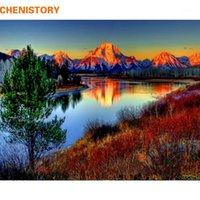 Chenistory Mountain DIY Pintura por números Kits Pintura Pintura acrílica de caligrafía por números para la decoración del hogar 40x50cm Artworks1