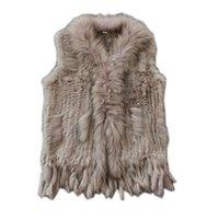 Новые настоящие дамы подлинно вязаный кролик жилет с енотом, обрезки жилеткой зимней меховой куртки Harppihop 201209
