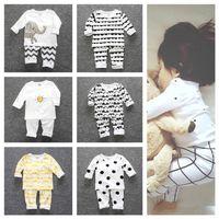 Kinder Autum Winter Pyjamas Sets Ins Kinder Jungen Mädchen Kleinkind HomeWear Zweiteilige Kleidung Baumwolle Nachtwäsche T-Shirt Hosen Outfits G12802