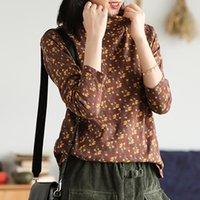 Johnature Kadınlar Balıkçı Yaka Vintage T-Shirt 2020 Sonbahar Yeni Uzun Kollu Baskı Çiçek Kadın Bezleri Çin Tarzı T-Shirt A1112