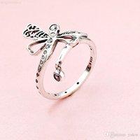 박스 새로운 아름다운 크리스탈 세트 잠자리 반지 Pandora 925 스털링 실버 CZ 다이아몬드 반지 패션 액세서리에 대 한 원래